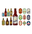 Set of icons beer bottles and label them vector image