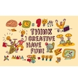 Think creative fun doodles people color vector image