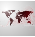 world map on the red smoke background vector image