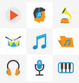 music flat icons set collection of pianoforte vector image