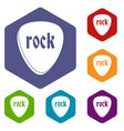 rock stone icons set hexagon vector image