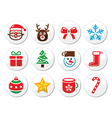 Christmas santa icons set vector image