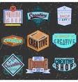 Assorted color retro design insignias logotypes vector image