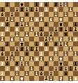 Many chess icons on chessboard seamless pattern vector image