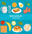 brakfast concept with food and drinks vector image