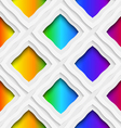 Rainbow colored rectangles holes and rim seamless vector image