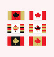red white and golden canadian flags set - simple vector image