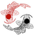 zentangle stylized hand drawn koi fish vector image