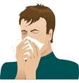 Man sneezing in handkerchief vector image vector image