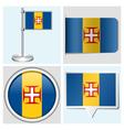 Madeira flag - sticker button label flagstaff vector image vector image