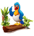 A parrot above the trunk with plants vector image vector image