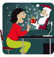 Christmas shopping online vector image