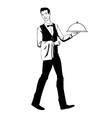 elegant waiter with a tray vector image