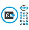 Euro Purse Flat Icon with Bonus vector image
