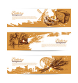 Set of bakery sketch banners vector image