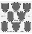 Set of shield icons Monochrome security signs vector image