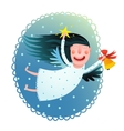 Cute angel girl holding star and bell flying at vector image
