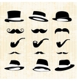 vintage set with mustaches hats and one pipe vector image