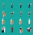 restaurant staff isometric set vector image