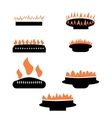 Set of gas icons with burner vector image vector image