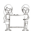 blurred silhouette caricature full body couple vector image