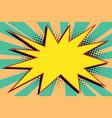yellow comic burst explosion pop art vector image