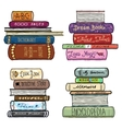 Vintage hand drawn books library set vector image vector image