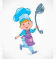 Chef kids with ladle vector image vector image