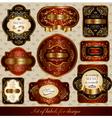 set of black-golden elegance labels vector image vector image