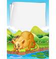 Border design with lion by the pond vector image