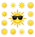 set of different suns isolated on white vector image