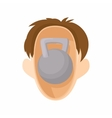 Head with kettlebell icon cartoon style vector image
