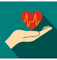 Hand holding red heart with ecg line icon vector image