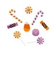 Halloween treat caramel candies set vector image