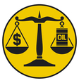 scales of justice balancing oil with the dollar vector image