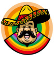 cartoon of smiling mexican man with sombrero vector image