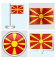 Macedonia flag - sticker button label flagstaff vector image vector image