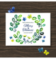 Wedding invitation card with watercolor floral vector image vector image