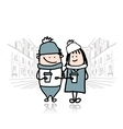 Couple walking in city with coffee cups vector image