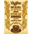 cup of coffee with ornament and inscription vector image