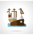 Aircraft carrier flat color icon vector image