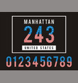 manhattan set number textured united states vector image