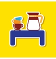 paper sticker on stylish background coffee cup of vector image