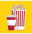 pop corn soda straw food cinema vector image