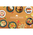 popular food on a wooden background popular food vector image
