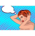 Sexy nude pop art girl in a shower vector image