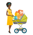 young pregnant woman with a pram full of presents vector image