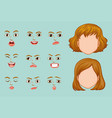 woman faces with different expressions vector image vector image