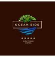 Logo for hotel ocean side resort logotype design vector image vector image