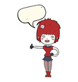 cartoon vampire girl giving thumbs up sign with vector image